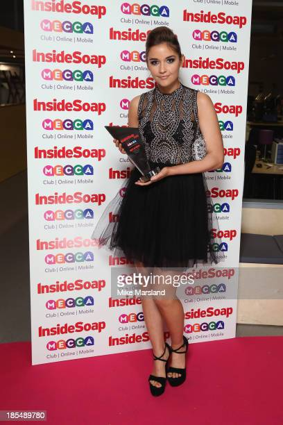 Jacqueline Jossa of EastEnders poses with her Best Actress Award as she attends The Inside Soap Awards at The Ministry of Sound on October 21 2013 in...