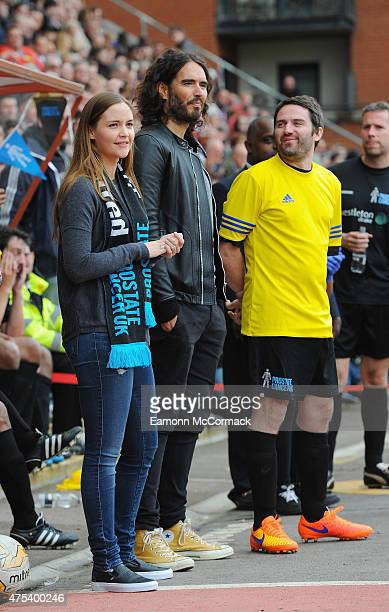 Jacqueline Jossa Russell Brand and George Gilbey at the Men United XI v Leyton Orient Legends charity football match at the Matchroom Stadium on May...