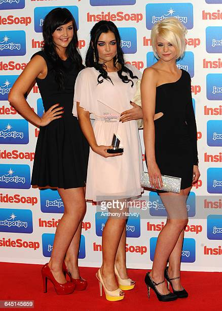 Jacqueline Jossa Shona McGarty and Danielle Harold from EastEnders with their Best Soap Award during the Inside Soap Awards 2011 at Gilgamesh on...