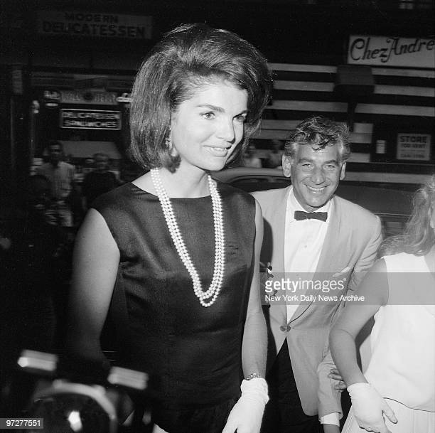 Jacqueline Kennedy and Leonard Bernstein at the opening of Bernstein's 'Theatre Songs' at the theatre De Lys 121 Christopher St