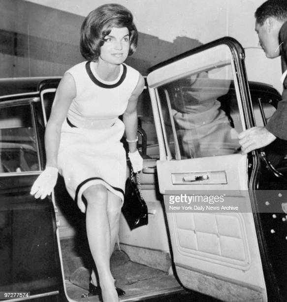 Jacqueline Kennedy arriving at the Hospital of Physical Medicine to visit her fatherinlaw Joseph Kennedy