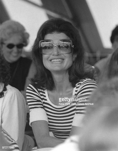 Jacqueline Kennedy attending the annual RFK tennis soiree 1977