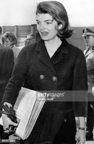 Jacqueline Kennedy leaves the Ritz Carlton on her way to Cape Cod on April 12 after visiting Boston for a weekend conference with architects and...