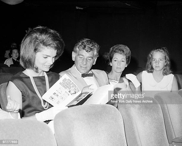 Jacqueline Kennedy Leonard Bernstein his wife Felicia and daughter Jamie chat during the opening of Bernstein's 'Theatre Songs' at the theatre De Lys...