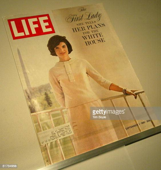 Jacqueline Kennedy LIFE magazine cover from September 1 1961 is displayed at the Jacqueline Kennedy exhibit November 12 2004 at the Field Museum in...