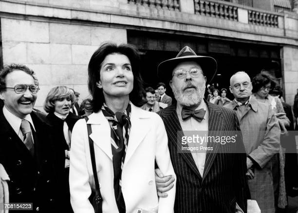 Jacqueline Kennedy Onassis and art historian critic and curator Henry Geldzahler at the Municipal Art Society in New York City circa 1977
