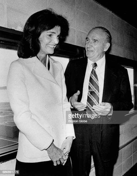 Jacqueline Kennedy Onassis and Dave Powers at the reception at the John F Kennedy Presidential Library and Museum in Boston on June 12 1977