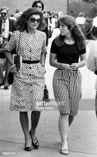 Jacqueline Kennedy Onassis and her daughter Caroline Kennedy at Boston University's commencement in Boston on May 16 1982