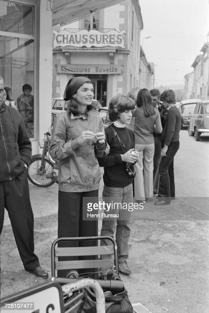 Jacqueline Kennedy Onassis and her son John F Kennedy Jr during a holiday in the Camargue region of southern France 5th November 1973 s