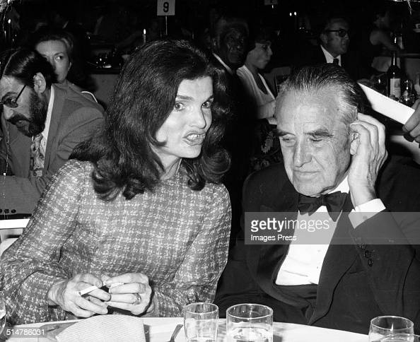 Jacqueline Kennedy Onassis and W Averell Harriman attends a dinner in his honor on May 15 1974 in Washington DC