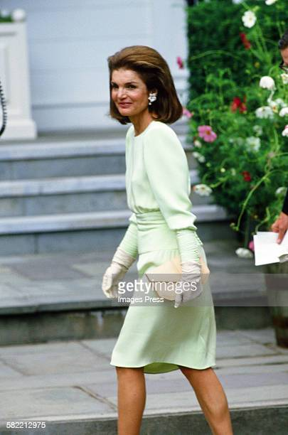 Jacqueline Kennedy Onassis attends the wedding ceremony of Caroline Kennedy and Edwin Schlossberg in the Church of Our Lady of Victory on July 19...