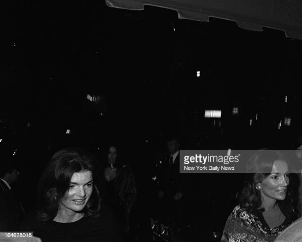 Jacqueline Kennedy Onassis entering El Morocco Night Club on her 4th Wedding Anniversary