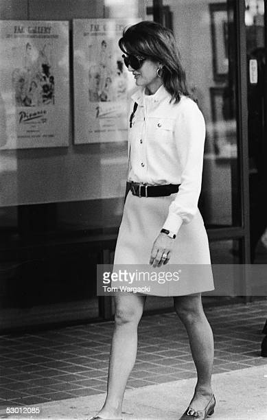 Jacqueline Kennedy Onassis former US first lady and the wife of Greek shipping magnate Aristotle Onassis on a sidewalk early 1970s