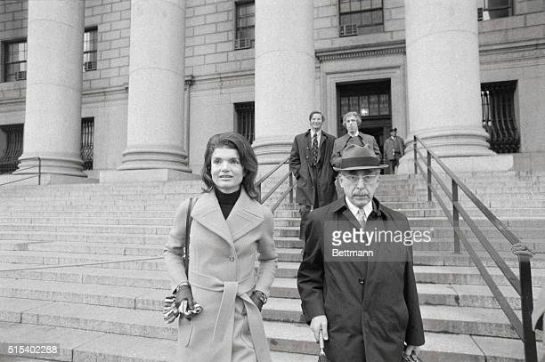 Jacqueline Kennedy Onassis leaves Federal Court after testifying for the third day in her suit against freelance photographer Ronald E Galella The...