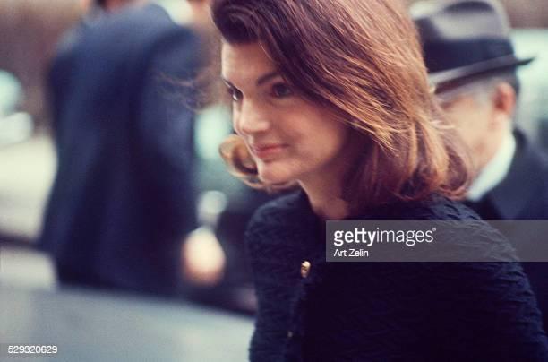 Jacqueline Kennedy Onassis on the street closeup circa 1970 New York
