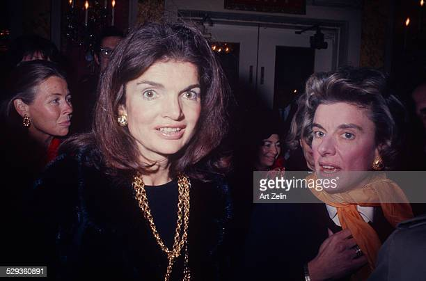 Jacqueline Kennedy Onassis wearing gold chain jewelery circa 1970 New York