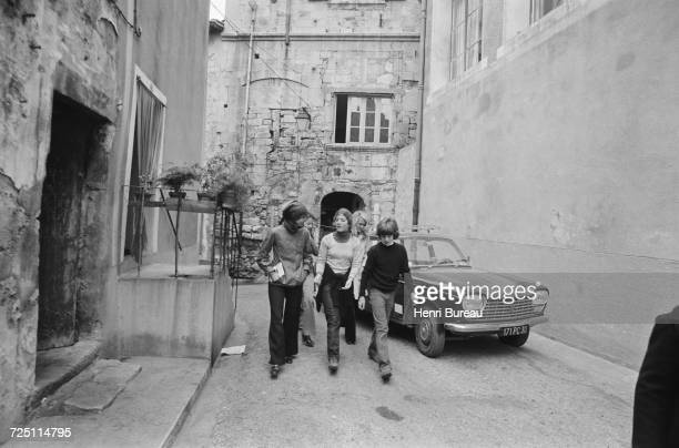 Jacqueline Kennedy Onassis with her children John and Caroline on holiday in the Camargue region of southern France 5th November 1973