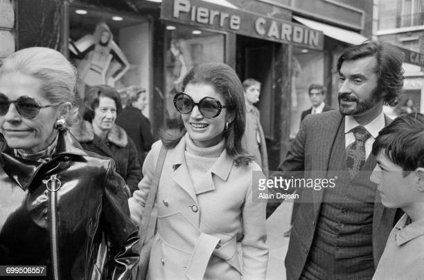 Jacqueline Kennedy Onassis with Nicole Alphand wife of the former French Ambassador to the United States and fashion designer and assistant to Pierre...