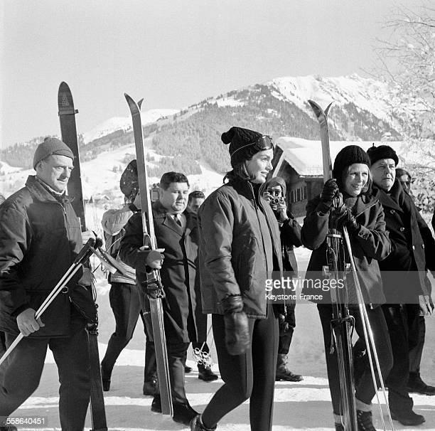 Jacqueline Kennedy photographiée aux sports d'hiver à Gstaad Suisse le 16 janvier 1966
