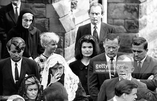 Jacqueline Kennedy the former First Lady and widow of assassinated US President John F Kennedy attends the funeral in North Wales of Lady Harlech...