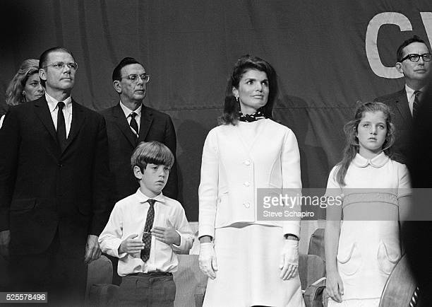 Jacqueline Kennedy with children John Jr and Caroline attend dedication of the USS John F Kennedy aircraft carrier