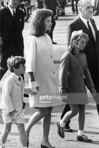 Jacqueline Kennedy with her children Caroline and John at Shannon Airport at the start of a family holiday in Ireland 15th June 1967