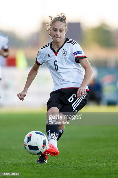 Jacqueline Klasen of Germany controls the ball during the UEFA Women's Euro 2017 Qualifier between Hungary and Germany at Gyirmot Stadium on...