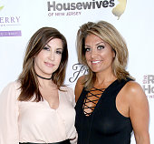 Jacqueline Laurita and Kathy Wakile attend the 'Real Housewives Of New Jersey' Season 7 Premiere Party at Molos on July 10 2016 in Weehawken New...