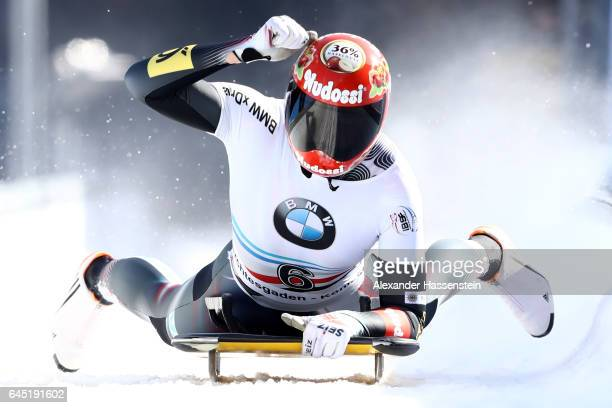 Jacqueline Loelling of Germany reacts after winning the final run of the IBSF World Championships Bob Skeleton 2017 at Deutsche Post Eisarena...