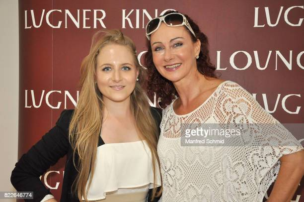 Jacqueline Lugner and Christina Lugner pose during the 'Wish Upon' premiere in Vienna at Lugner Lounge Kino on July 25 2017 in Vienna Austria