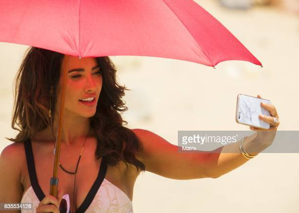 Jacqueline MacInnes Wood filming Bold and the Beautiful on February 15 2017 in Sydney Australia