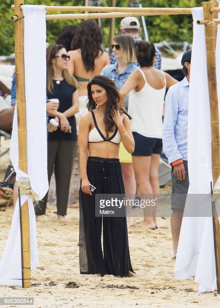 Jacqueline MacInnes Wood is seen at the Bold and the Beautiful filming at the beach on February 15 2017 in Sydney Australia