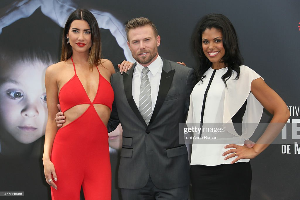 Jacqueline MacInnes Wood, Jacob Young and Karla Cheatham-Mosley attend a photocall for the 'The Bold and the Beautiful' TV series on June 15, 2015 in Monte-Carlo, Monaco.