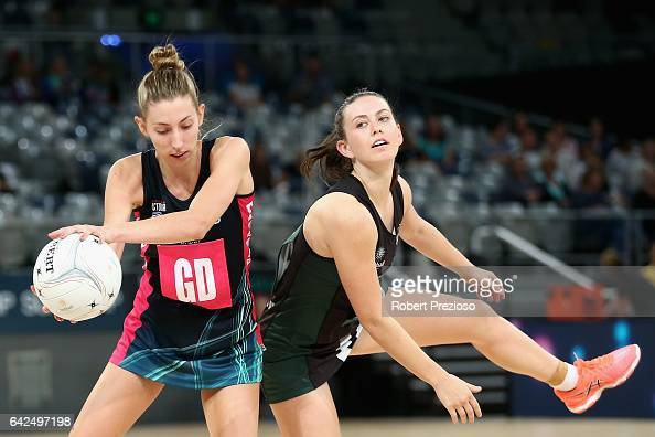 Jacqueline Newton of the Fury gathers the ball during the round one ANL match between at Vic Fury and the Tasmania Magpies at Hisense Arena on...