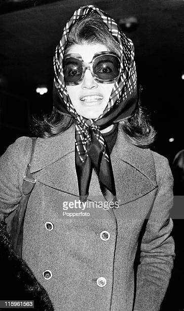 Jacqueline Onassis at Heathrow Airport London on 3rd January 1972