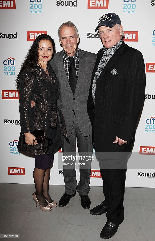 Jacqueline Piesen, CEO of EMI Group Roger Faxon and <a gi-track='captionPersonalityLinkClicked' href=/galleries/search?phrase=Mike+Love&family=editorial&specificpeople=93771 ng-click='$event.stopPropagation()'>Mike Love</a> of The Beach Boys arrive at the EMI Music Sound Foundation fundraiser at Somerset House on September 24, 2012 in London, England.