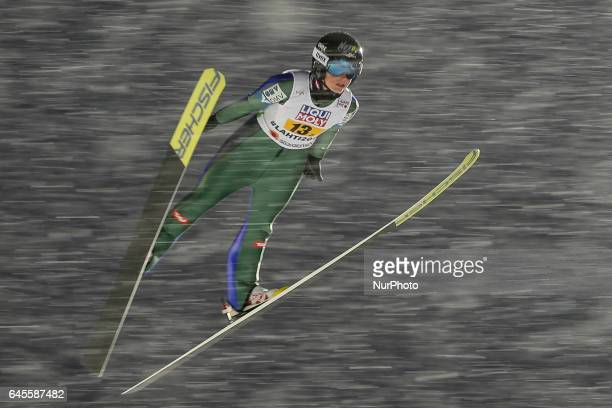 Jacqueline Seifiedsberger competes in the Mixed Team HS100 Normal Hill Ski Jumping during the FIS Nordic World Ski Championships on February 26 2017...