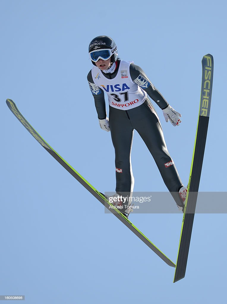 Jacqueline Seifriedsberger of Austria in action during day one of the FIS Women's Ski Jumping World Cup at Miyanomori Jump Stadium on February 2, 2013 in Sapporo, Japan.