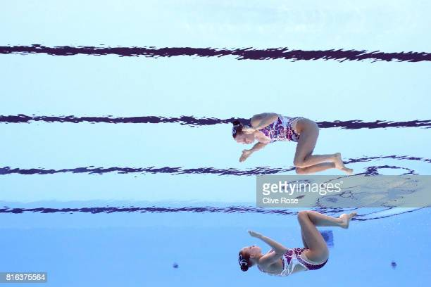 Jacqueline Simoneau of Canada competes during the Synchronised Swimming Solo Free preliminary round on day four of the Budapest 2017 FINA World...