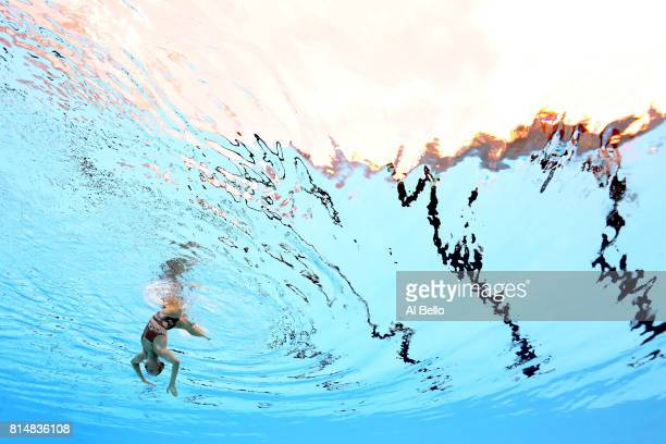 Jacqueline Simoneau of Canada competes during the Womens Synchro Solo Technical final on day two of the Budapest 2017 FINA World Championships on...
