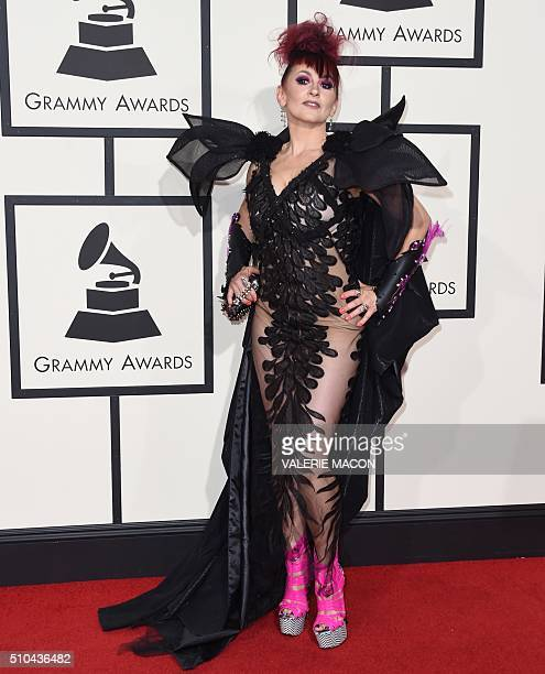 Jacqueline Van Bierk arrives on the red carpet for the 58th Annual Grammy music Awards in Los Angeles February 15 2016 AFP PHOTO/ VALERIE MACON / AFP...