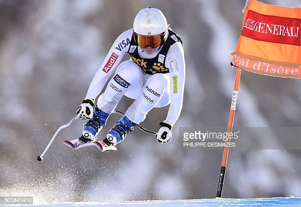 Jacqueline Wiles from the US competes in the Downhill of the FIS World Cup Alpine Women's Super Combined on December 18 in Vald'Isere French Alps /...