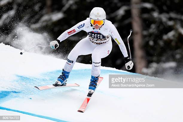 Jacqueline Wiles of the USA competes during the Audi FIS Alpine Ski World Cup Women's Downhill Training on February 12 2016 in Crans Montana...