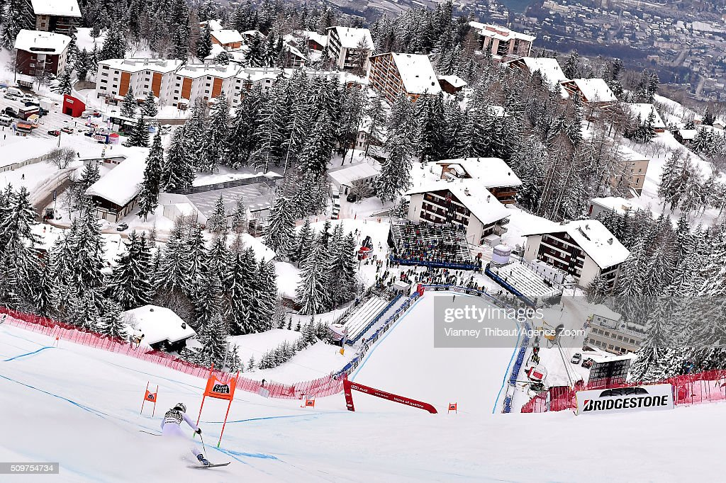 Jacqueline Wiles of the USA competes during the Audi FIS Alpine Ski World Cup Women's Downhill Training on February 12, 2016 in Crans Montana, Switzerland.