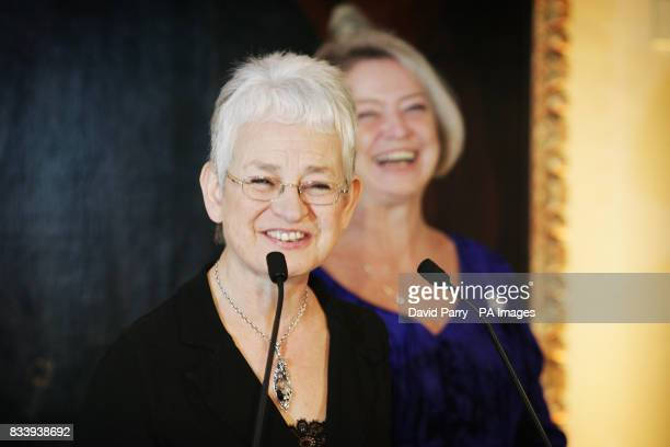 Jacqueline Wilson with Kate Adie in front of William Hogath's portait of Captain Thomas Corum after she was announced as the one of the first...