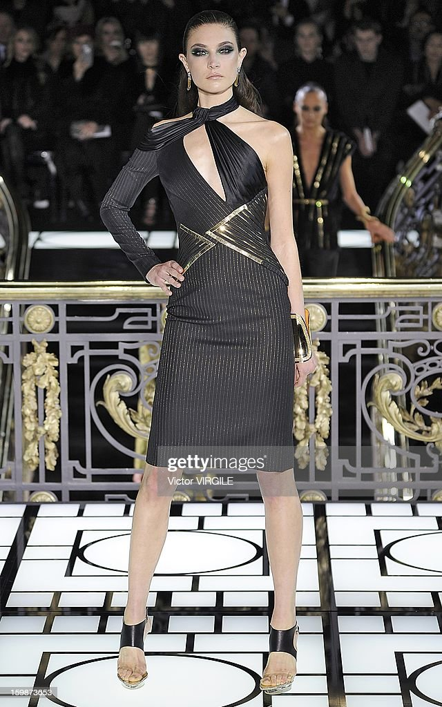 Jacquelyn Jablonski walks the runway during the Atelier Versace Spring/Summer 2013 Haute-Couture show as part of Paris Fashion Week at Le Centorial on January 20, 2013 in Paris, France.