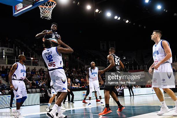 Jacques Alingue of Dijon and Chris Otule of Antibes during the Pro A match between Antibes sharks and JDA Dijon on November 4 2016 in Antibes France