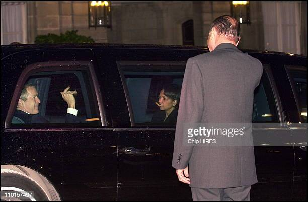 Jacques and Bernadette Chirac receive US President George W Bush and wife Laura for a dinner at the Elysee Palace in Paris France on May 26 2002...