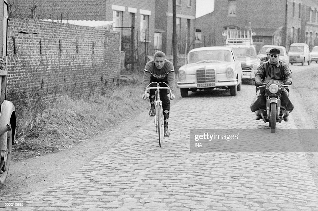 Jacques Anquetil in the training during the recognition of the route of the cycle race Paris Roubaix.