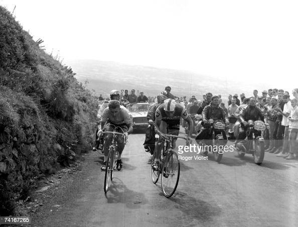 Jacques Anquetil left and Raymond Poulidor in the PuydeDme during the 1964 Tour de France